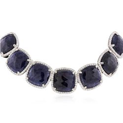14KT White Gold 309.68 ctw Sapphire and Diamond Necklace