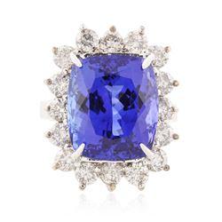 14KT White Gold 16.04 ctw Tanzanite and Diamond Ring