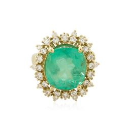 14KT Yellow Gold GIA Certified 10.00 ctw Emerald and Diamond Ring