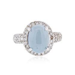 14KT White Gold 4.59 ctw Chrysoprase and Diamond Ring