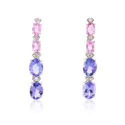 14KT White Gold 7.60 ctw Tanzanite, Sapphire and Diamond Earrings