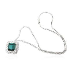 18KT White Gold 15.54 ctw GIA Certified Tourmaline and Diamond Necklace