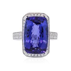 18KT White Gold GIA Certified 13.23 ctw Tanzanite and Diamond Ring