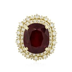 14KT Yellow Gold 16.36 ctw Ruby and Diamond Ring