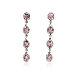 14KT White Gold 1.60 ctw Pink Sapphire and Diamond Earrings
