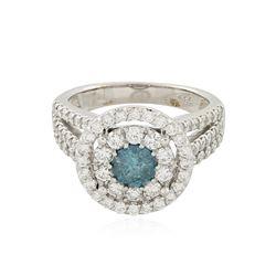 14KT White Gold 1.92 ctw Fancy Blue Diamond Ring