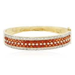 14KT Yellow Gold 7.00 ctw Orange Sapphire and Diamond Bangle Bracelet