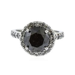 14KT White Gold 5.59 ctw Black Diamond Ring