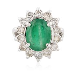14KT White Gold 2.97 ctw Emerald and Diamond Ring