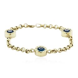 14KT Yellow Gold 0.30 ctw Diamond Evil Eye Bracelet