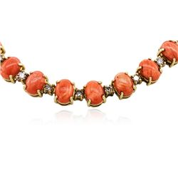 14KT Yellow Gold 40.42 ctw Pink Coral and Diamond Necklace