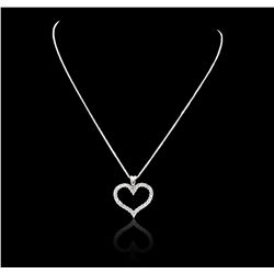 14KT White Gold 1.17 ctw Diamond Heart Pendant With Chain