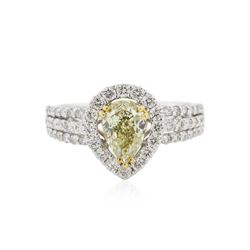 18KT Two-Tone Gold GIA Certified 1.92 ctw Fancy Yellow Diamond Ring