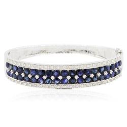 14KT White Gold 10.41 ctw Sapphire and Diamond Bangle Bracelet
