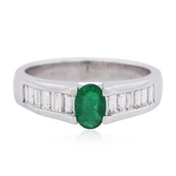 14KT White Gold 0.43 ctw Emerald and Diamond Ring