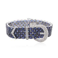 18KT White Gold 88.40 ctw Sapphire and Diamond Bracelet