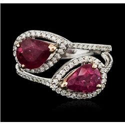 14KT White Gold 3.24 ctw Ruby and Diamond Ring