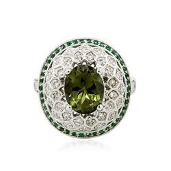 14KT White Gold 2.76 ctw Green Tourmaline, Chrysoberyl and Diamond Ring