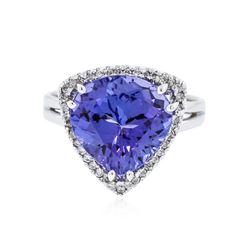 14KT White Gold 5.80 ctw Tanzanite and Diamond Ring