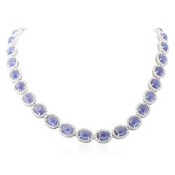 14KT White Gold 82.84 ctw Tanzanite and Diamond Necklace