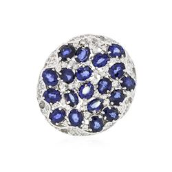 14KT White Gold 6.56 ctw Sapphire and Diamond Ring