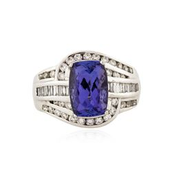 18KT White Gold 3.72 ctw Tanzanite and Diamond Ring