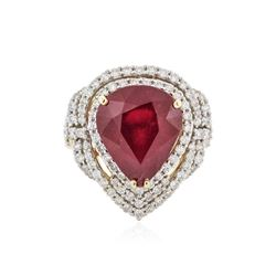 14KT Yellow Gold 8.69 ctw Ruby and Diamond Ring