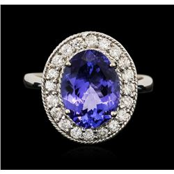 14KT White Gold 3.77 ctw Tanzanite and Diamond Ring