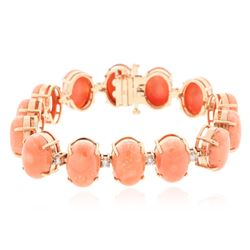14KT Rose Gold 65.20 ctw Coral and Diamond Bracelet