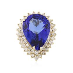 14KT Yellow Gold 18.13 ctw GIA Cert Tanzanite and Diamond Ring