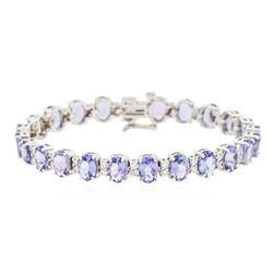 14KT White Gold 15.84 ctw Tanzanite and Diamond Bracelet
