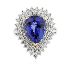 14KT White and Yellow Gold 6.89 ctw Tanzanite and Diamond Ring