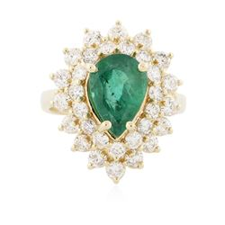 14KT Yellow Gold 1.95 ctw Emerald and Diamond Ring
