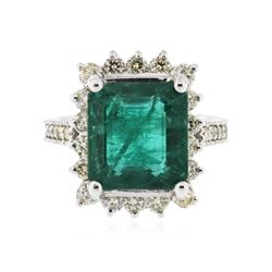 14KT White Gold 5.71 ctw GIA Certified Emerald and Diamond Ring