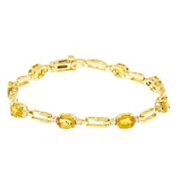 14KT Yellow Gold 6.56 ctw Yellow Sapphire and Diamond Bracelet