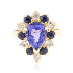 14KT Yellow Gold 3.36 ctw Tanzanite, Sapphire and Diamond Ring