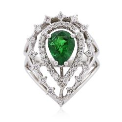 14KT White Gold 2.08 ctw Tsavorite and Diamond Ring