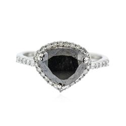 14KT White Gold 3.07 ctw Black Diamond Ring