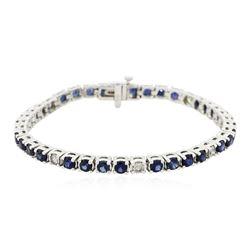 14KT White Gold 7.04 ctw Sapphire and Diamond Bracelet