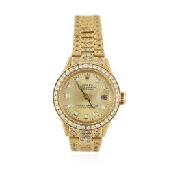 Ladies Rolex 18KT Yellow Gold 3.30 ctw Diamond DateJust Wristwatch