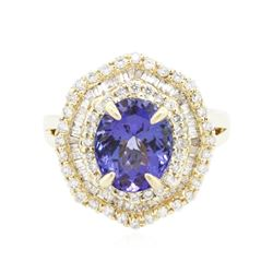 14KT Yellow Gold 2.74 ctw Tanzanite and Diamond Ring