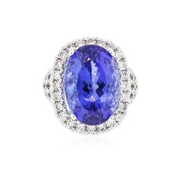 18KT White Gold GIA Certified 15.39 ctw Tanzanite and Diamond Ring