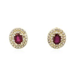 14KT Yellow Gold 2.07 ctw Ruby and Diamond Earrings