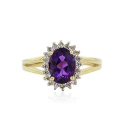 14KT Yellow Gold 1.09 ctw Amethyst and Diamond Ring
