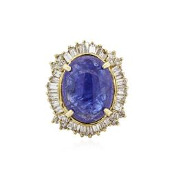 14KT Yellow Gold 16.24 ctw Tanzanite and Diamond Ring