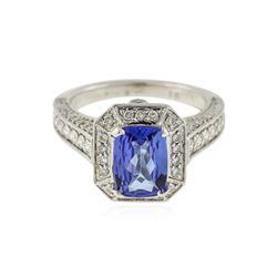 18KT White Gold 2.18 ctw Tanzanite and Diamond Ring