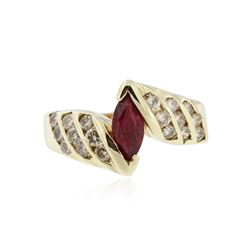 14KT Yellow Gold 0.75 ctw Ruby and Diamond Ring
