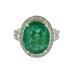 14KT Yellow Gold 7.61 ctw Emerald and Diamond Ring