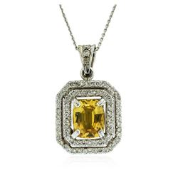 14KT White Gold 3.50 ctw Sapphire and Diamond Pendant With Chain