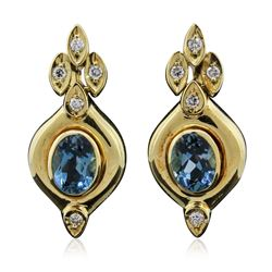 18KT Yellow Gold 2.42 ctw Blue Topaz and Diamond Earrings